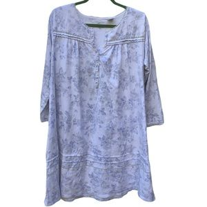Aria Blue White Long Sleeve Floral Nightgown Large